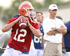 078_080804_BrantleyJohn_2419_TCasey<br /> <br /> photo by Tim Casey<br /> <br /> during the Florida Gators' first day of fall football practice on Monday, August 4, 2008 at the Sanders football practice fields in Gainesville, Fla.