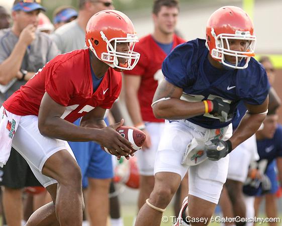 087_080804_NewtonCameron_2449_TCasey<br /> <br /> photo by Tim Casey<br /> <br /> during the Florida Gators' first day of fall football practice on Monday, August 4, 2008 at the Sanders football practice fields in Gainesville, Fla.