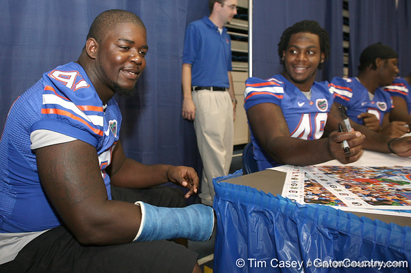 080817_BrownJohn_5191_TCasey<br /> <br /> photo by Tim Casey<br /> <br /> during the University of Florida football team's Alltel Football Fan Day on Sunday, August 17, 2008 at the Stephen C. O'Connell Center in Gainesville, Fla.