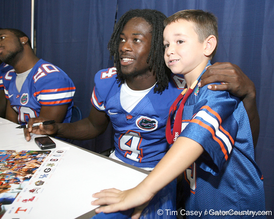 080817_PierreLouisWondy_5195_TCasey<br /> <br /> photo by Tim Casey<br /> <br /> during the University of Florida football team's Alltel Football Fan Day on Sunday, August 17, 2008 at the Stephen C. O'Connell Center in Gainesville, Fla.