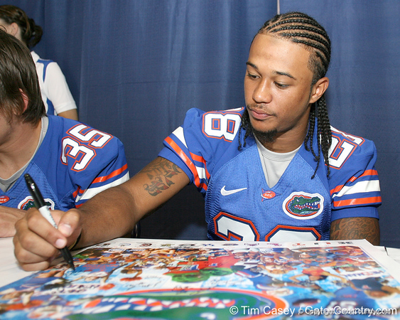 080817_BrownJeremy_5207_TCasey<br /> <br /> photo by Tim Casey<br /> <br /> during the University of Florida football team's Alltel Football Fan Day on Sunday, August 17, 2008 at the Stephen C. O'Connell Center in Gainesville, Fla.