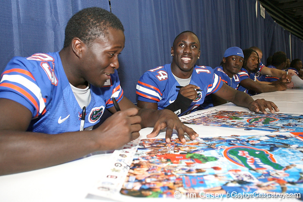 080817_RickersonJacques_5199_TCasey<br /> <br /> photo by Tim Casey<br /> <br /> during the University of Florida football team's Alltel Football Fan Day on Sunday, August 17, 2008 at the Stephen C. O'Connell Center in Gainesville, Fla.