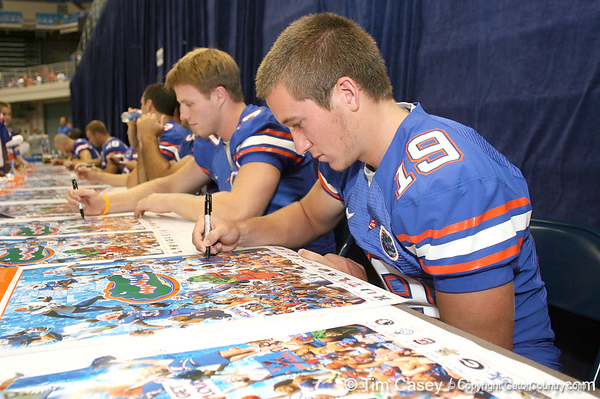 080817_SturgisCaleb_5230_TCasey<br /> <br /> photo by Tim Casey<br /> <br /> during the University of Florida football team's Alltel Football Fan Day on Sunday, August 17, 2008 at the Stephen C. O'Connell Center in Gainesville, Fla.