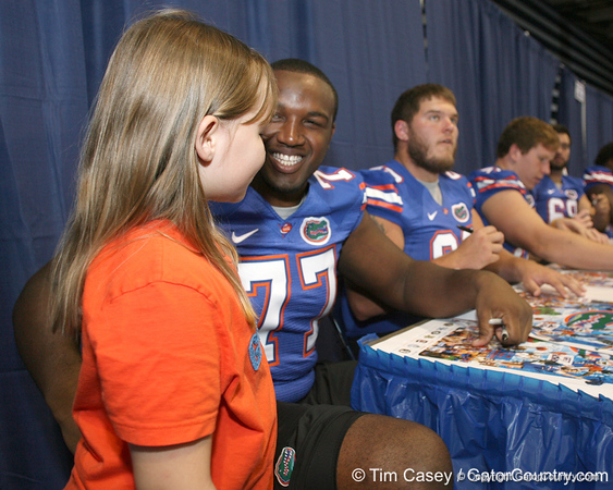 080817_WatkinsJason_5161_TCasey<br /> <br /> photo by Tim Casey<br /> <br /> during the University of Florida football team's Alltel Football Fan Day on Sunday, August 17, 2008 at the Stephen C. O'Connell Center in Gainesville, Fla.