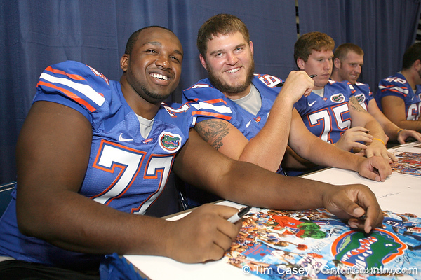 080817_WatkinsJasonTarttJim_5158_TCasey<br /> <br /> photo by Tim Casey<br /> <br /> during the University of Florida football team's Alltel Football Fan Day on Sunday, August 17, 2008 at the Stephen C. O'Connell Center in Gainesville, Fla.