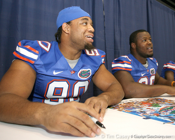 080817_MarshLawrence_5184_TCasey<br /> <br /> photo by Tim Casey<br /> <br /> during the University of Florida football team's Alltel Football Fan Day on Sunday, August 17, 2008 at the Stephen C. O'Connell Center in Gainesville, Fla.
