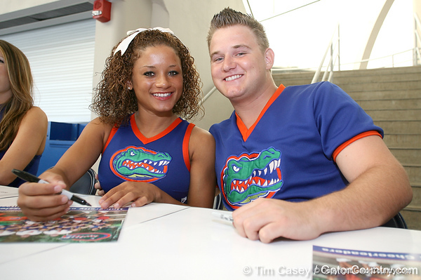 080817_UFcheerleaders_5096_TCasey<br /> <br /> photo by Tim Casey<br /> <br /> during the University of Florida football team's Alltel Football Fan Day on Sunday, August 17, 2008 at the Stephen C. O'Connell Center in Gainesville, Fla.