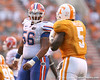 photo by Tim Casey<br /> <br /> Florida sophomore offensive lineman Maurkice Pouncey looks at Rico McCoy during the second half of the Gators' 30-6 win against the Tennessee Volunteers on Saturday, September 20, 2008 at Neyland Stadium in Knoxville, Tenn.
