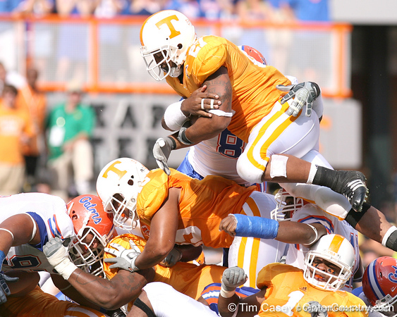 photo by Tim Casey<br /> <br /> Florida sophomore defensive end Carlos Dunlap tackles Arian Foster at the 1-yard line during the first half of the Gators' game against the Tennessee Volunteers on Saturday, September 20, 2008 at Neyland Stadium in Knoxville, Tenn.