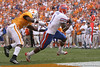 photo by Tim Casey<br /> <br /> Florida junior wide receiver/running back Percy Harvin scores a touchdown on a pass from Tim Tebow during the second half of the Gators' 30-6 win against the Tennessee Volunteers on Saturday, September 20, 2008 at Neyland Stadium in Knoxville, Tenn.