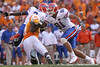 photo by Tim Casey<br /> <br /> Florida sophomore tight end Aaron Hernandez makes a block for Chris Rainey during the second half of the Gators' 30-6 win against the Tennessee Volunteers on Saturday, September 20, 2008 at Neyland Stadium in Knoxville, Tenn.