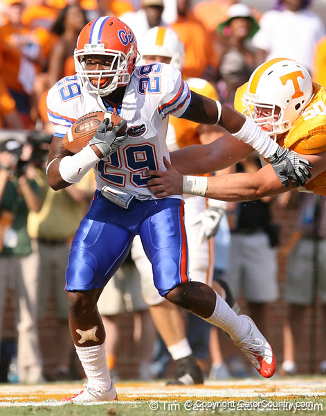 photo by Tim Casey<br /> <br /> Florida freshman cornerback Janoris Jenkins runs after making an interception at the end of the first half of the Gators' game against the Tennessee Volunteers on Saturday, September 20, 2008 at Neyland Stadium in Knoxville, Tenn.
