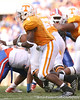 photo by Tim Casey<br /> <br /> Gerald Jones runs for a six-yard gain during the first half of the Gators' game against the Tennessee Volunteers on Saturday, September 20, 2008 at Neyland Stadium in Knoxville, Tenn.