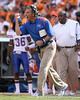 photo by Tim Casey<br /> <br /> Florida head coach Urban Meyer motivates his team during the first half of the Gators' game against the Tennessee Volunteers on Saturday, September 20, 2008 at Neyland Stadium in Knoxville, Tenn.
