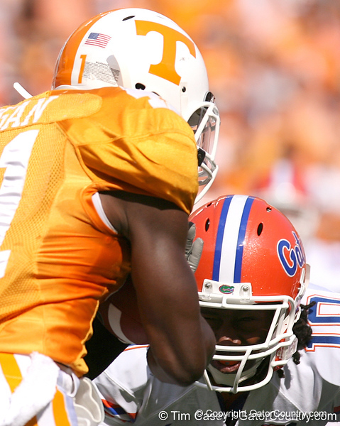 photo by Tim Casey<br /> <br /> Florida freshman safety Will Hill tackles Dennis Rogan on a kick return during the first half of the Gators' game against the Tennessee Volunteers on Saturday, September 20, 2008 at Neyland Stadium in Knoxville, Tenn.