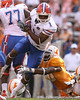 photo by Tim Casey<br /> <br /> Florida junior wide receiver/running back Percy Harvin runs for a four-yard gain during the second half of the Gators' 30-6 win against the Tennessee Volunteers on Saturday, September 20, 2008 at Neyland Stadium in Knoxville, Tenn.