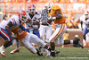 photo by Tim Casey<br /> <br /> Florida redshirt junior linebacker Ryan Stamper tackles Gerald Jones for a one-yard loss during the first half of the Gators' game against the Tennessee Volunteers on Saturday, September 20, 2008 at Neyland Stadium in Knoxville, Tenn.