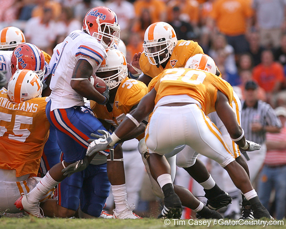 photo by Tim Casey<br /> <br /> Florida junior wide receiver/running back Percy Harvin runs for a four-yeard gain during the second half of the Gators' 30-6 win against the Tennessee Volunteers on Saturday, September 20, 2008 at Neyland Stadium in Knoxville, Tenn.