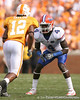 photo by Tim Casey<br /> <br /> Florida junior cornerback Wondy Pierre-Louis lines up against Lucas Taylor during the first half of the Gators' game against the Tennessee Volunteers on Saturday, September 20, 2008 at Neyland Stadium in Knoxville, Tenn.