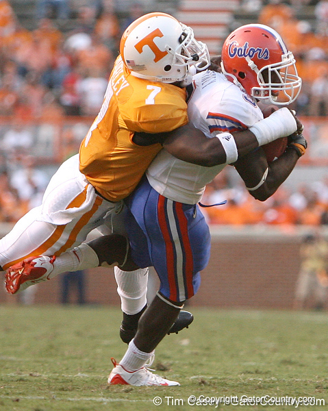 photo by Tim Casey<br /> <br /> Florida redshirt freshman running back Chris Rainey gets tackled by Demetrice Morley for a one-yard loss during the second half of the Gators' 30-6 win against the Tennessee Volunteers on Saturday, September 20, 2008 at Neyland Stadium in Knoxville, Tenn.