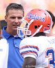 photo by Tim Casey<br /> <br /> Florida head coach Urban Meyer speaks to Ahmad Black during the first half of the Gators' game against the Tennessee Volunteers on Saturday, September 20, 2008 at Neyland Stadium in Knoxville, Tenn.