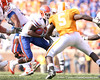 photo by Tim Casey<br /> <br /> Florida junior wide receiver/running back Percy Harvin runs five yards to the 18-yard line during the first half of the Gators' game against the Tennessee Volunteers on Saturday, September 20, 2008 at Neyland Stadium in Knoxville, Tenn.
