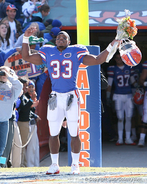 photo by Tim Casey<br /> <br /> Florida junior running back Kestahn Moore participates in the Senior Day ceremony before the Gators' 70-19 win against The Citadel Bulldogs on Saturday, November 22, 2008 at Ben Hill Griffin Stadium in Gainesville, Fla. UF led 49-6 at halftime.