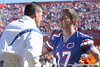 photo by Tim Casey<br /> <br /> Florida head coach Urban Meyer and Florida senior safety Curtis Carr  participate in the Senior Day ceremony before the Gators' 70-19 win against The Citadel Bulldogs on Saturday, November 22, 2008 at Ben Hill Griffin Stadium in Gainesville, Fla. UF led 49-6 at halftime.