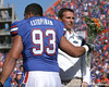 photo by Tim Casey<br /> <br /> Florida redshirt senior defensive tackle Javier Estopinan and Florida head coach Urban Meyer participate in the Senior Day ceremony before the Gators' 70-19 win against The Citadel Bulldogs on Saturday, November 22, 2008 at Ben Hill Griffin Stadium in Gainesville, Fla. UF led 49-6 at halftime.
