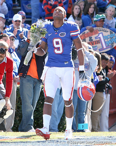 photo by Tim Casey<br /> <br /> Florida senior wide receiver Louis Murphy participates in the Senior Day ceremony before the Gators' 70-19 win against The Citadel Bulldogs on Saturday, November 22, 2008 at Ben Hill Griffin Stadium in Gainesville, Fla. UF led 49-6 at halftime.