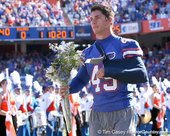 photo by Tim Casey<br /> <br /> Kyle Pratt participates in the Senior Day ceremony before the Gators' 70-19 win against The Citadel Bulldogs on Saturday, November 22, 2008 at Ben Hill Griffin Stadium in Gainesville, Fla. UF led 49-6 at halftime.