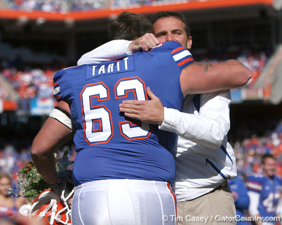photo by Tim Casey<br /> <br /> Florida redshirt senior offensive lineman Jim Tartt and Florida head coach Urban Meyer participate in the Senior Day ceremony before the Gators' 70-19 win against The Citadel Bulldogs on Saturday, November 22, 2008 at Ben Hill Griffin Stadium in Gainesville, Fla. UF led 49-6 at halftime.