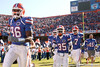 photo by Tim Casey<br /> <br /> Florida freshman defensive end William Green, Florida sophomore safety Ahmad Black and Florida redshirt sophomore safety Justin Williams take the field before the Gators' 70-19 win against The Citadel Bulldogs on Saturday, November 22, 2008 at Ben Hill Griffin Stadium in Gainesville, Fla. UF led 49-6 at halftime.