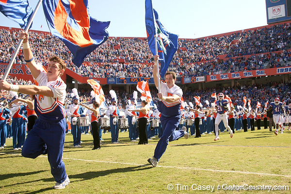 photo by Tim Casey<br /> <br /> Florida cheerleaders take the field before the Gators' 70-19 win against The Citadel Bulldogs on Saturday, November 22, 2008 at Ben Hill Griffin Stadium in Gainesville, Fla. UF led 49-6 at halftime.