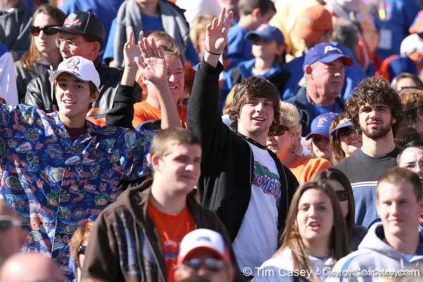 photo by Tim Casey<br /> <br /> Florida fans cheer before the Gators' 70-19 win against The Citadel Bulldogs on Saturday, November 22, 2008 at Ben Hill Griffin Stadium in Gainesville, Fla. UF led 49-6 at halftime.