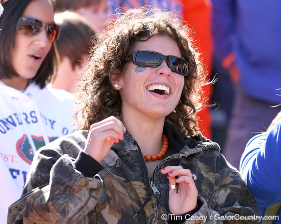 photo by Tim Casey<br /> <br /> A Florida fan watches from the stands before the Gators' 70-19 win against The Citadel Bulldogs on Saturday, November 22, 2008 at Ben Hill Griffin Stadium in Gainesville, Fla. UF led 49-6 at halftime.