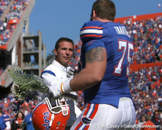 photo by Tim Casey<br /> <br /> Florida head coach Urban Meyer and Florida head coach Urban Meyer participate in the Senior Day ceremony before the Gators' 70-19 win against The Citadel Bulldogs on Saturday, November 22, 2008 at Ben Hill Griffin Stadium in Gainesville, Fla. UF led 49-6 at halftime.