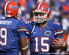 photo by Tim Casey<br /> <br /> Florida senior wide receiver Louis Murphy and Florida junior quarterback Tim Tebow talk before the Gators' 70-19 win against The Citadel Bulldogs on Saturday, November 22, 2008 at Ben Hill Griffin Stadium in Gainesville, Fla. UF led 49-6 at halftime.