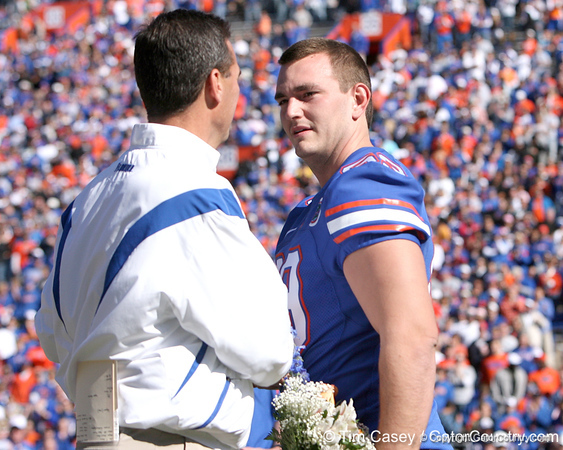 photo by Tim Casey<br /> <br /> Florida head coach Urban Meyer participates in the Senior Day ceremony before the Gators' 70-19 win against The Citadel Bulldogs on Saturday, November 22, 2008 at Ben Hill Griffin Stadium in Gainesville, Fla. UF led 49-6 at halftime.