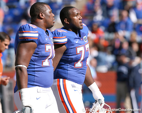 photo by Tim Casey<br /> <br /> Florida redshirt sophomore offensive lineman Marcus Gilbert and Florida redshirt senior offensive lineman Jason Watkins head to the locker room before the Gators' 70-19 win against The Citadel Bulldogs on Saturday, November 22, 2008 at Ben Hill Griffin Stadium in Gainesville, Fla. UF led 49-6 at halftime.