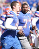 photo by Tim Casey<br /> <br /> Florida sophomore defensive end Duke Lemmens and Florida freshman Byran Jones head to the locker room before the Gators' 70-19 win against The Citadel Bulldogs on Saturday, November 22, 2008 at Ben Hill Griffin Stadium in Gainesville, Fla. UF led 49-6 at halftime.