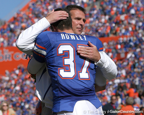 photo by Tim Casey<br /> <br /> Florida redshirt senior Butch Rowley and Florida head coach Urban Meyer participate in the Senior Day ceremony before the Gators' 70-19 win against The Citadel Bulldogs on Saturday, November 22, 2008 at Ben Hill Griffin Stadium in Gainesville, Fla. UF led 49-6 at halftime.
