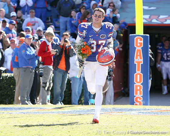 photo by Tim Casey<br /> <br /> Florida redshirt senior Butch Rowley participates in the Senior Day ceremony before the Gators' 70-19 win against The Citadel Bulldogs on Saturday, November 22, 2008 at Ben Hill Griffin Stadium in Gainesville, Fla. UF led 49-6 at halftime.