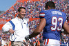 photo by Tim Casey<br /> <br /> Florida head coach Urban Meyer and Florida redshirt senior defensive tackle Javier Estopinan participate in the Senior Day ceremony before the Gators' 70-19 win against The Citadel Bulldogs on Saturday, November 22, 2008 at Ben Hill Griffin Stadium in Gainesville, Fla. UF led 49-6 at halftime.