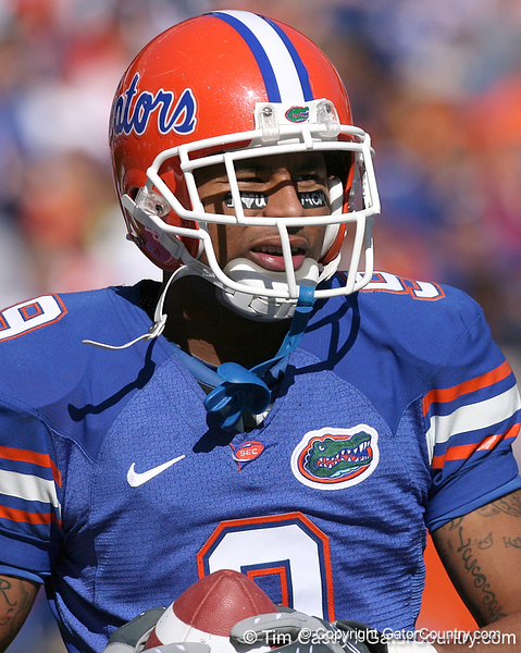 photo by Tim Casey<br /> <br /> Florida senior wide receiver Louis Murphy warms up before the Gators' 70-19 win against The Citadel Bulldogs on Saturday, November 22, 2008 at Ben Hill Griffin Stadium in Gainesville, Fla. UF led 49-6 at halftime.
