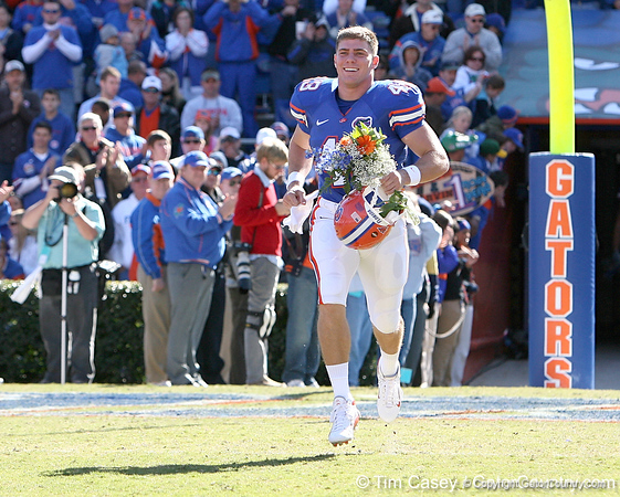 photo by Tim Casey<br /> <br /> Florida redshirt senior long snapper James Smith participates in the Senior Day ceremony before the Gators' 70-19 win against The Citadel Bulldogs on Saturday, November 22, 2008 at Ben Hill Griffin Stadium in Gainesville, Fla. UF led 49-6 at halftime.