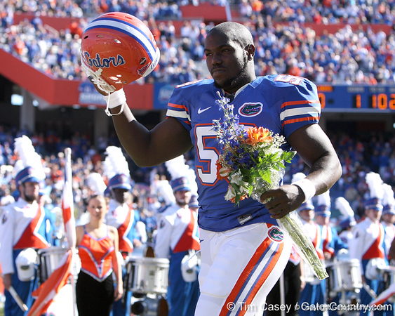 photo by Tim Casey<br /> <br /> Florida senior linebacker Jamaal Deveaux participates in the Senior Day ceremony before the Gators' 70-19 win against The Citadel Bulldogs on Saturday, November 22, 2008 at Ben Hill Griffin Stadium in Gainesville, Fla. UF led 49-6 at halftime.