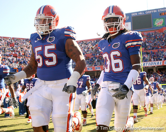 photo by Tim Casey<br /> <br /> Florida sophomore offensive lineman Mike Pouncey and Florida sophomore cornerback Moses Jenkins take the field before the Gators' 70-19 win against The Citadel Bulldogs on Saturday, November 22, 2008 at Ben Hill Griffin Stadium in Gainesville, Fla. UF led 49-6 at halftime.