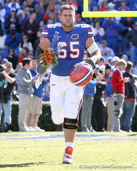 photo by Tim Casey<br /> <br /> Florida senior offensive lineman Brad Hiers participates in the Senior Day ceremony before the Gators' 70-19 win against The Citadel Bulldogs on Saturday, November 22, 2008 at Ben Hill Griffin Stadium in Gainesville, Fla. UF led 49-6 at halftime.