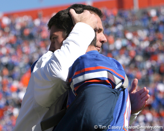 photo by Tim Casey<br /> <br /> Florida head coach Urban Meyer and Kyle Pratt participate in the Senior Day ceremony before the Gators' 70-19 win against The Citadel Bulldogs on Saturday, November 22, 2008 at Ben Hill Griffin Stadium in Gainesville, Fla. UF led 49-6 at halftime.
